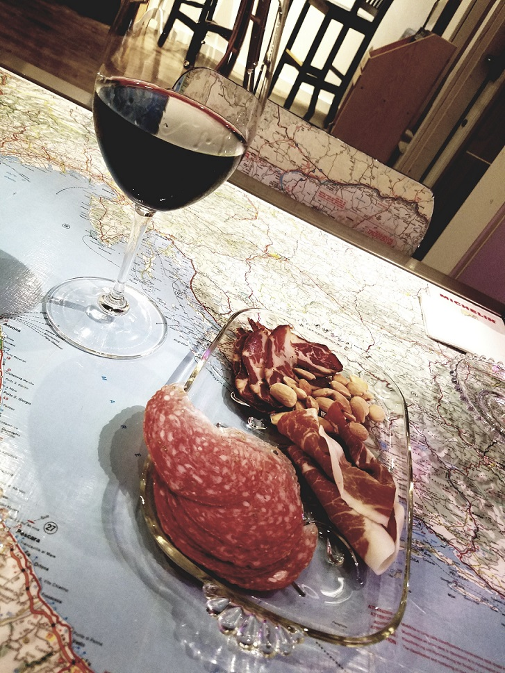 red wine and charcuterie