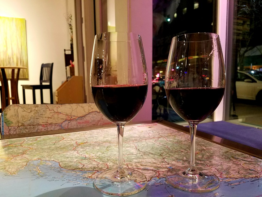 two glasses of imported red wine