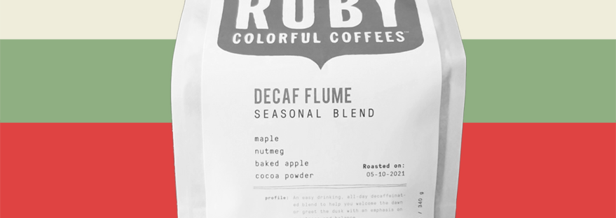 banner of ruby coffee roasters' decaf flume